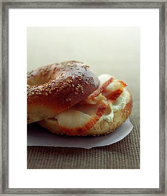 A Sesame Bagel Framed Print