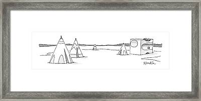 A Set Of Tepees Stands Next To A Large Pencil Framed Print by Charlie Hankin