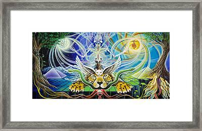 A Shaman's Journey Through The Heart Of The Sun Framed Print by Morgan  Mandala Manley
