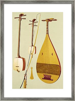 A Shamisen, A Kokyu And A Biwa Framed Print by Alfred James Hipkins