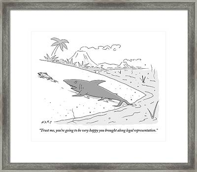 A Shark Speaks To A Fish As It Follows The Fish Framed Print