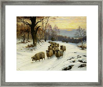 A Shepherd And His Flock Framed Print by Wright Barker