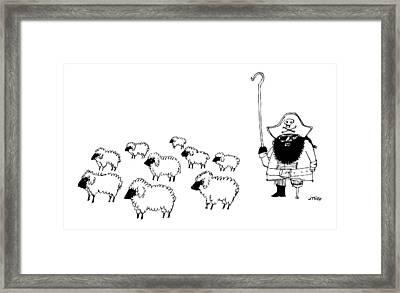 A Shepherd Dressed Like Captain Hook Framed Print