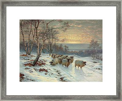 A Shepherd With His Flock In A Winter Landscape Framed Print by Wright Baker