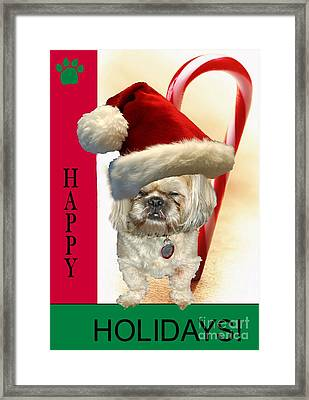 Framed Print featuring the digital art A Shih Tzu's Happy Holidays Greeting by Polly Peacock