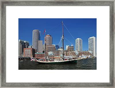 Framed Print featuring the photograph A Ship In Boston Harbor by Mitchell Grosky