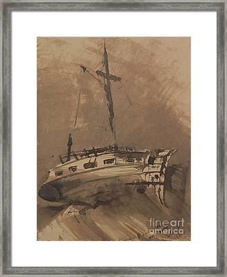 A Ship In Choppy Seas Framed Print