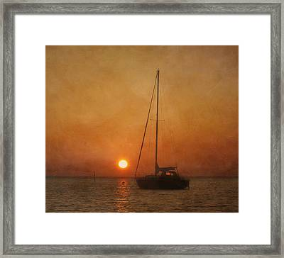 A Ship In The Night Framed Print by Kim Hojnacki