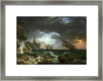 A Shipwreck In Stormy Seas Framed Print by Claude-Joseph Vernet