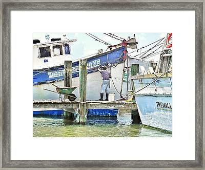 A Shrimper's Work Is Never Done Framed Print by Patricia Greer