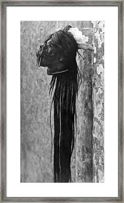 A Shrunken Head From Ecuador Framed Print by Underwood Archives
