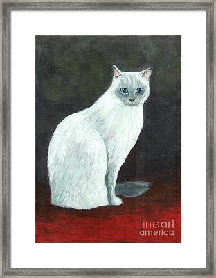 A Siamese Cat On Red Mat Framed Print