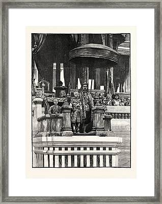 A Siamese Royal Family Festival The King Presenting Framed Print by English School