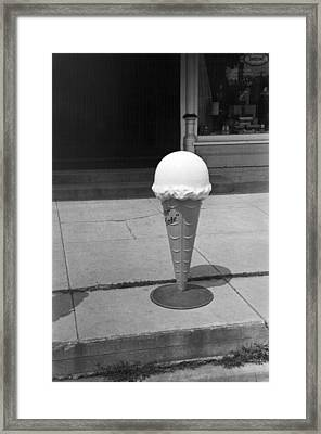 A Sidewalk Ice Cream Cone Framed Print by Russell Lee