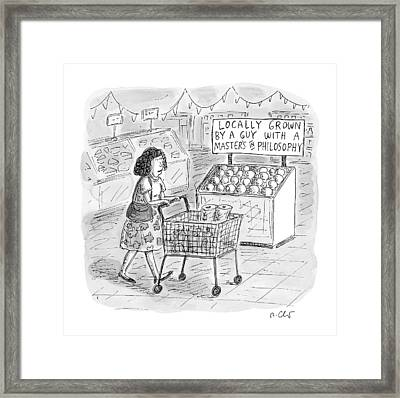 A Sign For Produce In A Grocery Store Reads Framed Print