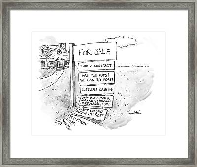 A Sign Stands In Front Of A House Framed Print by Ken Krimstein