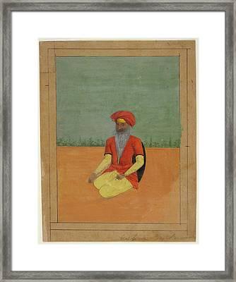 A Sikh Kneeling Framed Print