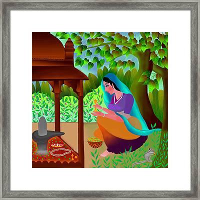 Framed Print featuring the digital art A Silent Prayer In Solitude by Latha Gokuldas Panicker