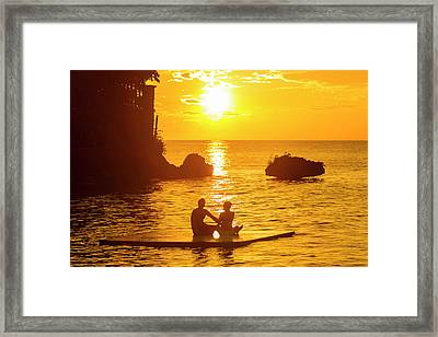 A Silhouetted Couple Watch A Romantic Framed Print