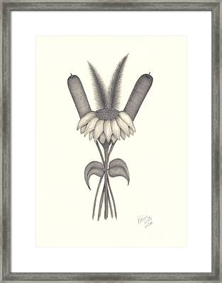 Framed Print featuring the drawing A Simple Bouquet by Patricia Hiltz