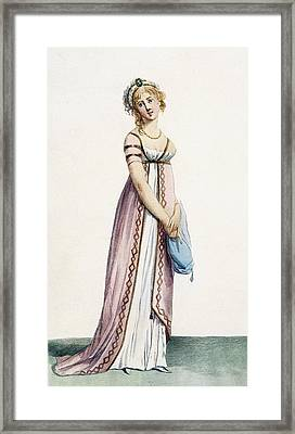 A Simply Designed Ladys Ball Dress Framed Print by Pierre de La Mesangere