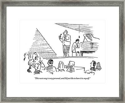 A Singer On Stage Is Addressing A Crowded Framed Print