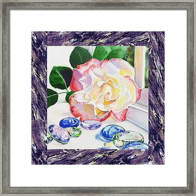 A Single Rose Mable Blue Glass Framed Print by Irina Sztukowski