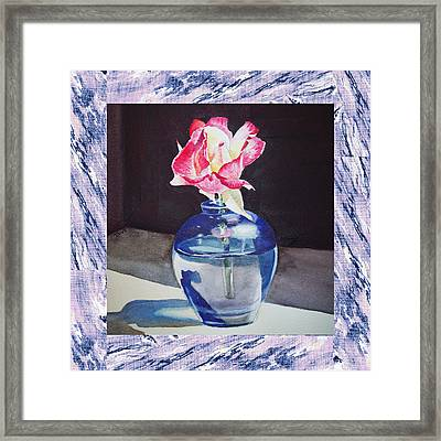 A Single Rose Mable Blue Framed Print by Irina Sztukowski