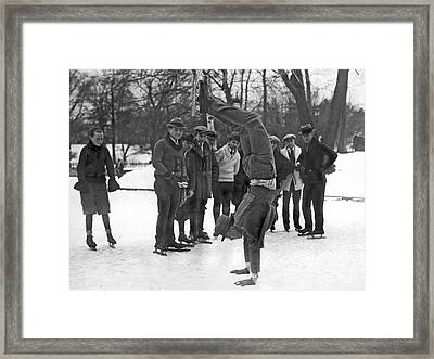 A Skater On His Hands Framed Print by Underwood Archives