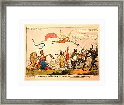 A Sketch For The Regents Speech On Mad-ass-sons Insanity Framed Print