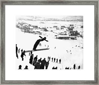 A Ski Jump On A Snowy Day Framed Print