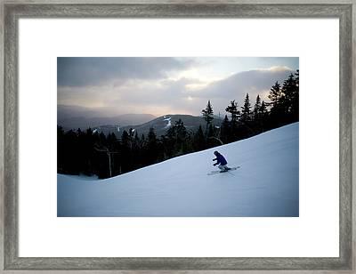 A Skier At Sunday River In Bethel Framed Print