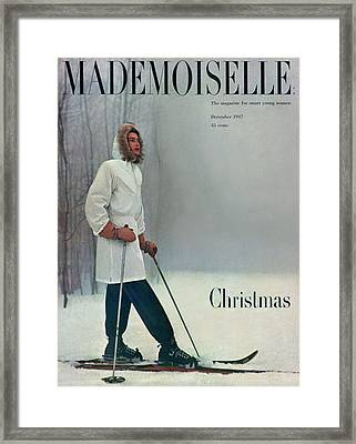 A Skier In A White Stag Parker Framed Print by George Barkentin