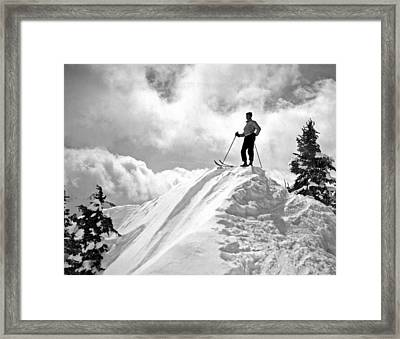 A Skier On Top Of Mount Hood Framed Print by Underwood Archives