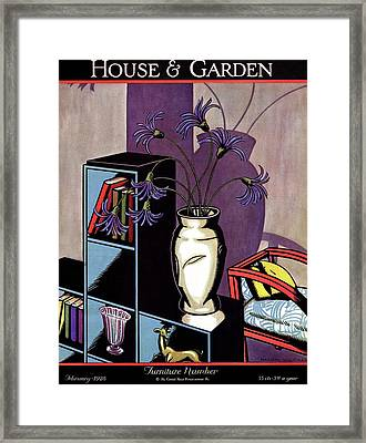 A Skyscraper Style Bookcase With A Vase Framed Print