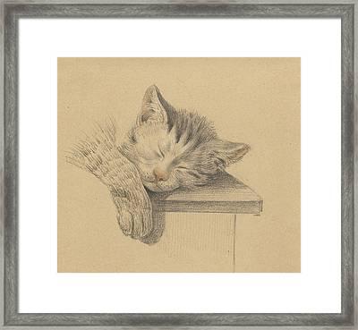 A Sleeping Cat, Jean Bernard Framed Print by Quint Lox