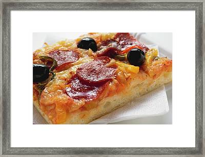 A Slice Of Salami Pizza With Peppers And Olives Framed Print