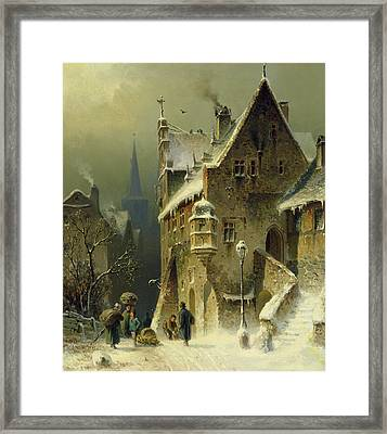 A Small Town In The Rhine Framed Print by August Schlieker