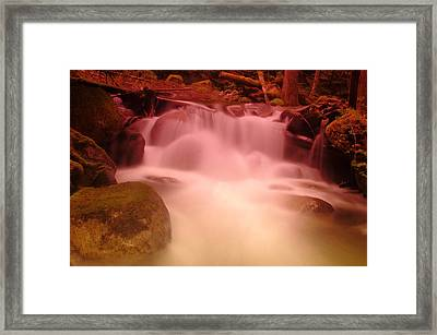 A Small Waterfall Along The Old North Cascade Highway  Framed Print by Jeff Swan