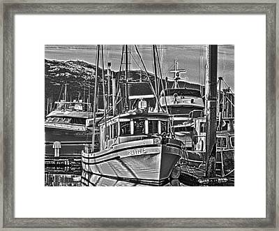 Framed Print featuring the photograph A Small Wooden Fishing Boat by Timothy Latta