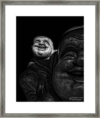 A Smile On The Shoulder - Bw Framed Print by Christopher Holmes