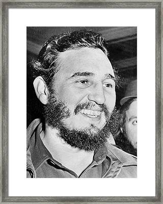 A Smiling Fidel Castro Framed Print by Underwood Archives