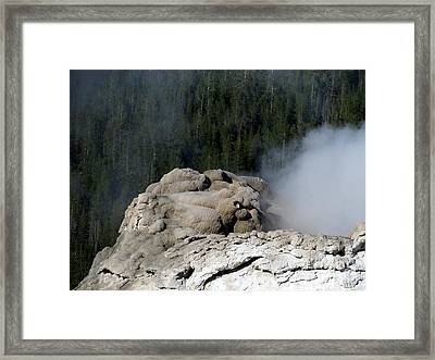 A Smoking Man. Yellowstone Hot Springs Framed Print