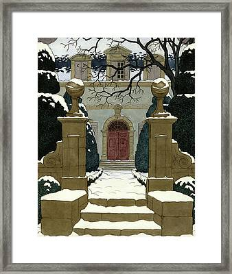 A Snow Covered Pathway Leading To A Mansion Framed Print