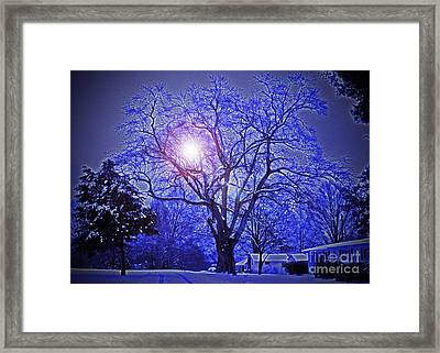A Snow Glow Evening Framed Print by Lydia Holly