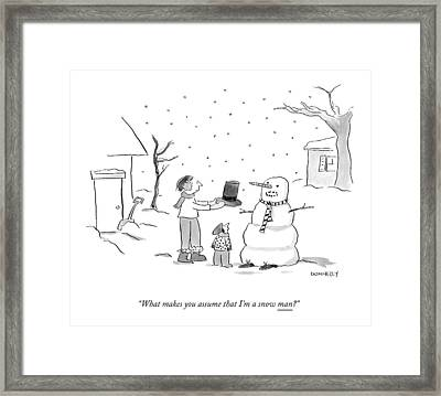 A Snowman Confronts A Mother Framed Print