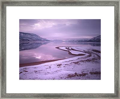 A Snowy Shore Framed Print by Tara Turner