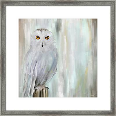 A Snowy Stare Framed Print by Lourry Legarde