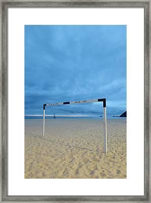 A Soccer Goal Post At Dusk At Ipanema Framed Print