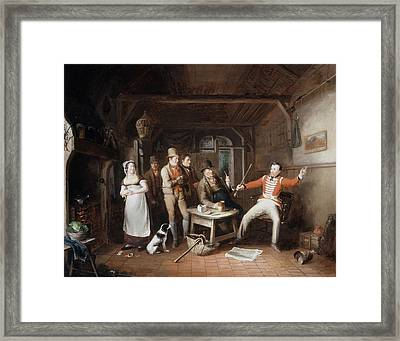 A Soldier Relating His Exploits Framed Print by John Cawse